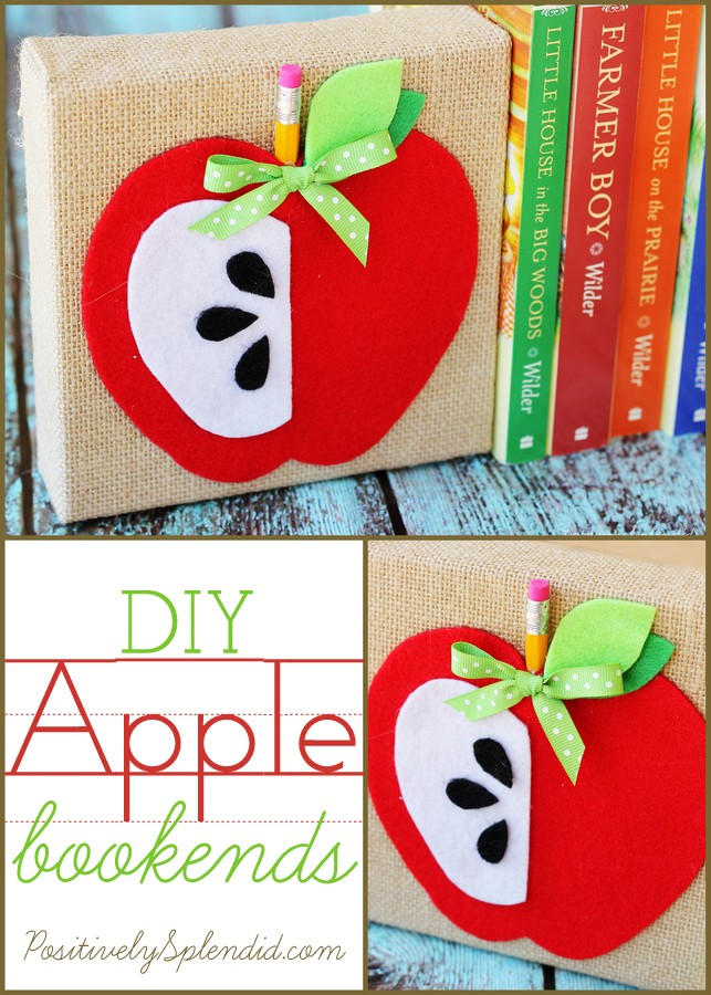 Adorable DIY apple bookends from Positively Splendid. #MichaelsMakers
