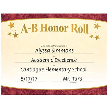 All A S Honor Roll Certificates Printable - Best Design Sertificate 2018