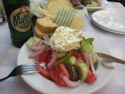 Greek salad and beer - the best!