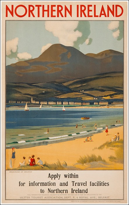 1930s Northern Ireland Mountains Of Mourne Uk Vintage Travel Poster Travel Posters Vintage Travel Posters Travel