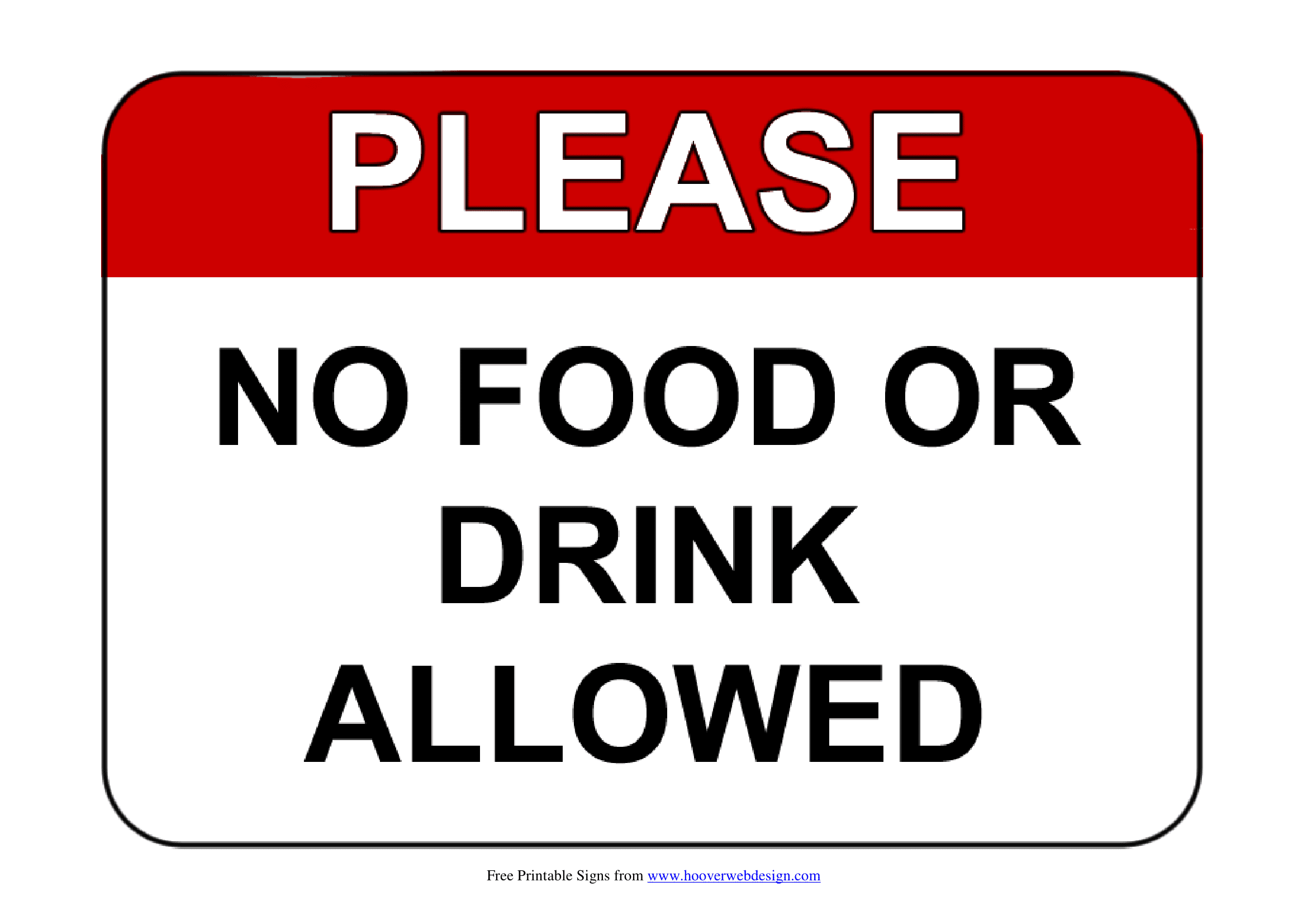 no food or drink signs template