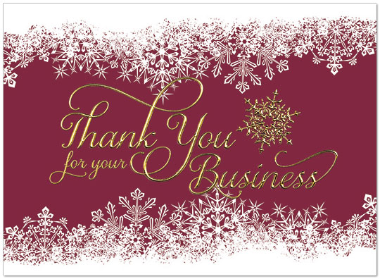 Snowflake Thank You Card Business Holiday Cards Posty Cards