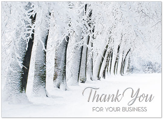 Snowy Thank You Card Business Holiday Cards Posty Cards