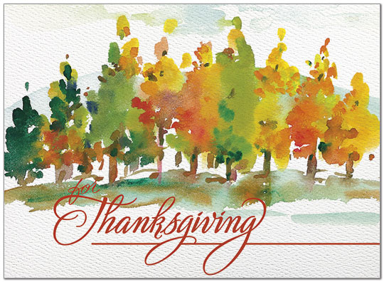 Painted Trees Card Watercolor Thanksgiving Card Posty Cards