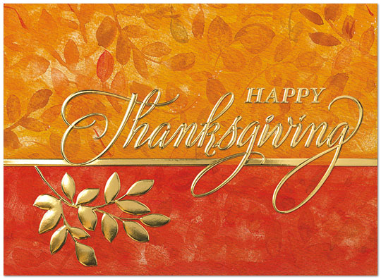 Foil Branch Thanksgiving Card Business Thanksgiving Cards Posty