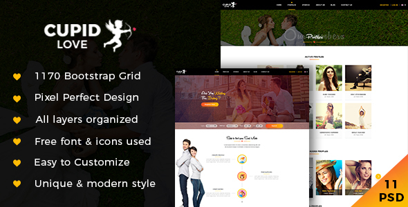 CUPID LOVE - The PSD Template Reinventing The Dating Website
