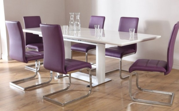 Modern-Chairs-Purple-Color-With-Glossy-Silver-Backrest-And-Glossy-White-Rectangular-Table-at-Contemporary-Dining-Room Discover the Furniture Trends for 2014