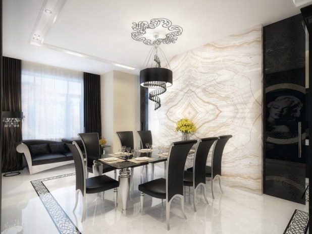 extraordinary-white-marble-dining-room-with-black-furniture Discover the Furniture Trends for 2014