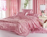 Luxury-Pink-Jacquard-Satin-Cotton-Silk-Bedding-Sets ...