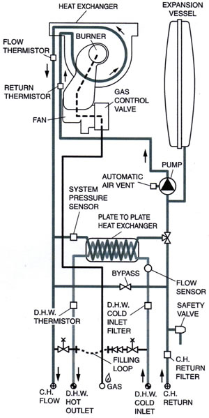 combi gas boiler wiring diagram for
