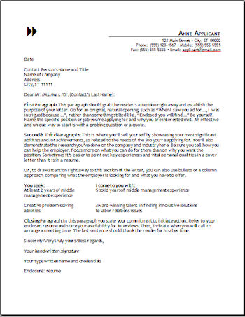 Cover Letter Templates - Free Resume Cover Letter Templates and Outline