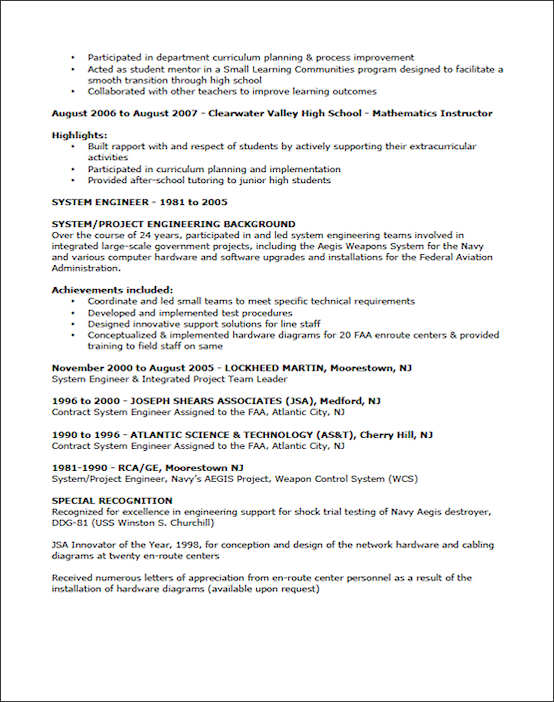 Teaching Resume Example - Sample Teacher Resume