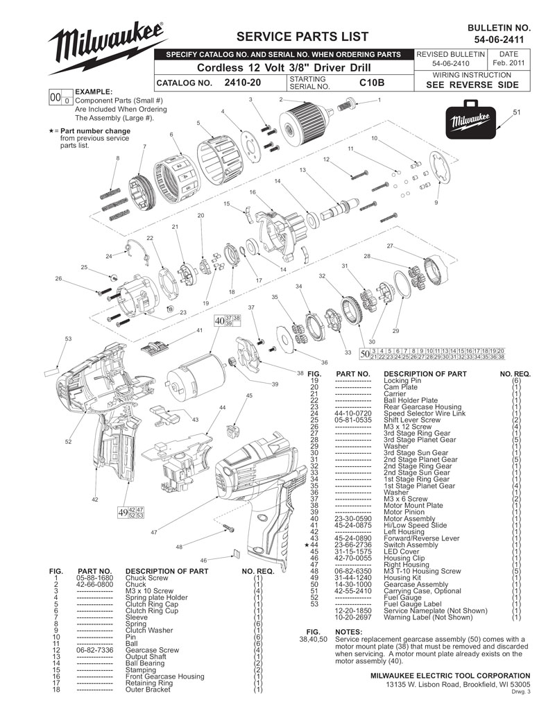 milwaukee m491020 parts list and diagram