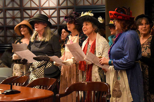 "An activist group called the ""Raging Grannies"" testifies in harmony before Portland's City Council"