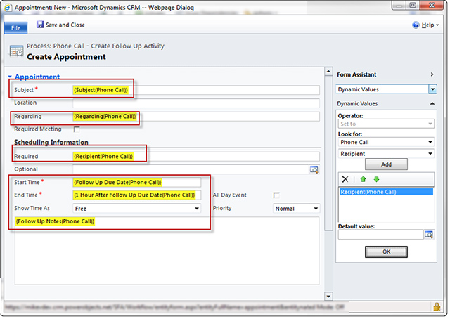 Automatic Follow-up Activities in CRM 2011 - how to create call log template