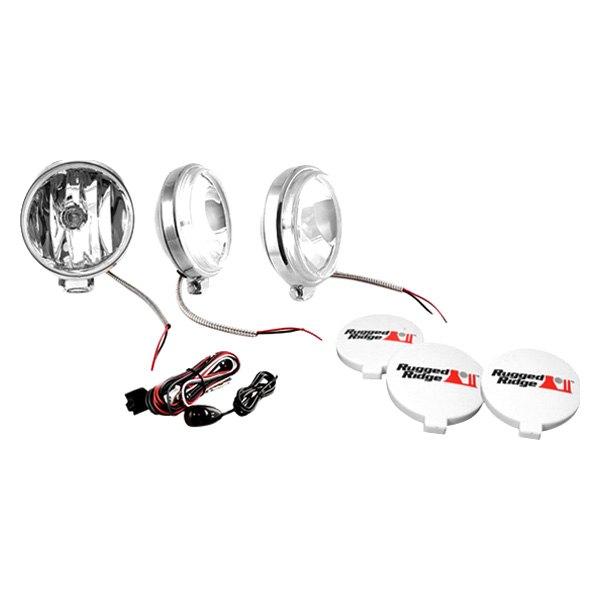 rugged ridge off road fog light kit 3 lights with wiring harness 6