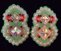 Navajo Native American Beaded Green Neon Diamond Powwow