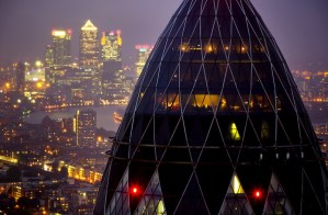 "Jason Alden's photo of 30 St. Mary Axe, the ""Gherkin"" building in London, a symbol of London finance. The shot was taken as British banks were being probed about the LIBOR scandal."