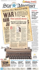 """Betty McIntosh was a reporter for the Honolulu Star-Bulletin on Dec. 7, 1941 when Pearl Harbor was attacked. The story she wrote a week later was considered """" too upsetting for readers,"""" so it didn't run. It appears in today's Honolulu Star-Advertiser. (Front page courtesy of the Newseum)"""