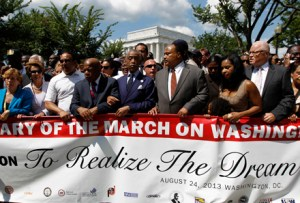 "House Minority Leader Nancy Pelosi of Calif., Rev. Al Sharpton, Martin Luther King, III, Rep. John Lewis, D-Ga., Bernice King, Adreienne King, among others start the march at Lincoln Memorial during the rally  to commemorate the 50th anniversary of the 1963 March on Washington at the Lincoln Memorial in Washington, Saturday, Aug. 24, 2013. Tens of thousands of people marched to the Martin Luther King Jr. Memorial and down the National Mall on Saturday, to commemorate King's famous """"I Have a Dream"" speech, made Aug. 28, 1963, during the March on Washington, and pledging that his dream includes equality for gays, Latinos, the poor and the disabled. (AP Photo/Jose Luis Magana)"