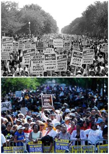 "In this combination of Associated Press file photos, at top, civil rights protestors march down Constitution Avenue carrying placards during the March on Washington on Aug. 28, 1963; and at bottom, people rally at the Lincoln Memorial in Washington to commemorate the 50th anniversary of the 1963 march Saturday, Aug. 24, 2013. Dr. Martin Luther King Jr. delivered his ""I Have a Dream"" speech during the March on Washington on Aug. 28, 1963. (AP Photo/File)"