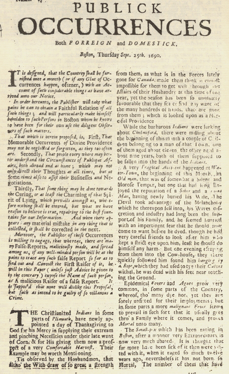Today in media history First colonial newspaper published in 1690
