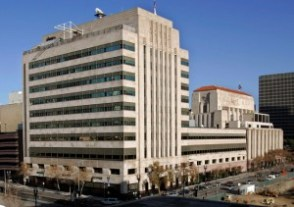 The Los Angeles Times newspaper buildings, where cuts are expected. (AP Photo/Reed Saxon)