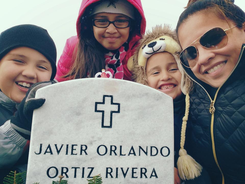 Javier Ortiz-Rivera's family at Arlington National Cemetery.