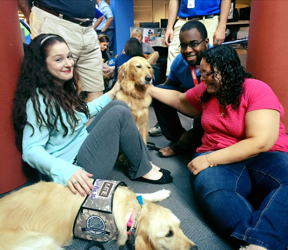 WFTV employees with the comfort dogs. (Photo by Nancy Alvarez, WFTV)