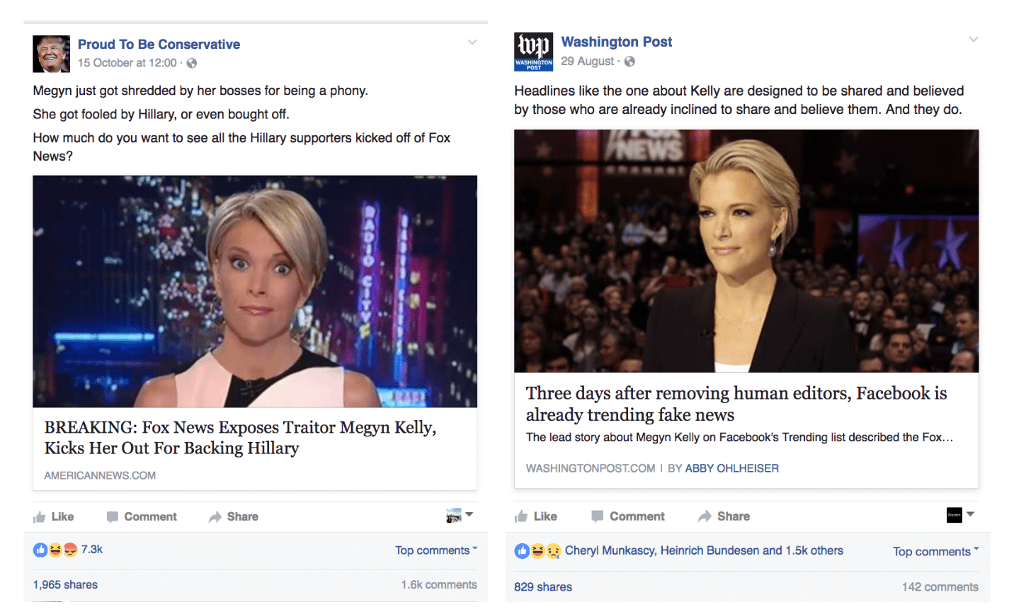 Compare and contrast. Fake post (left) does much better than earlier correction post (right).