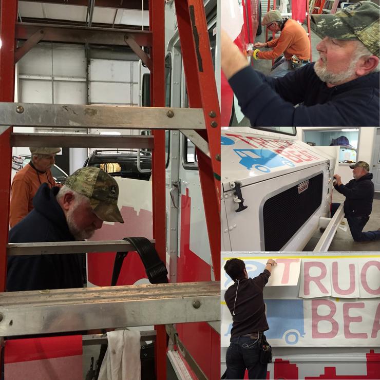 WBIR's truck undergoing a transformation. (Courtesy of Mador)