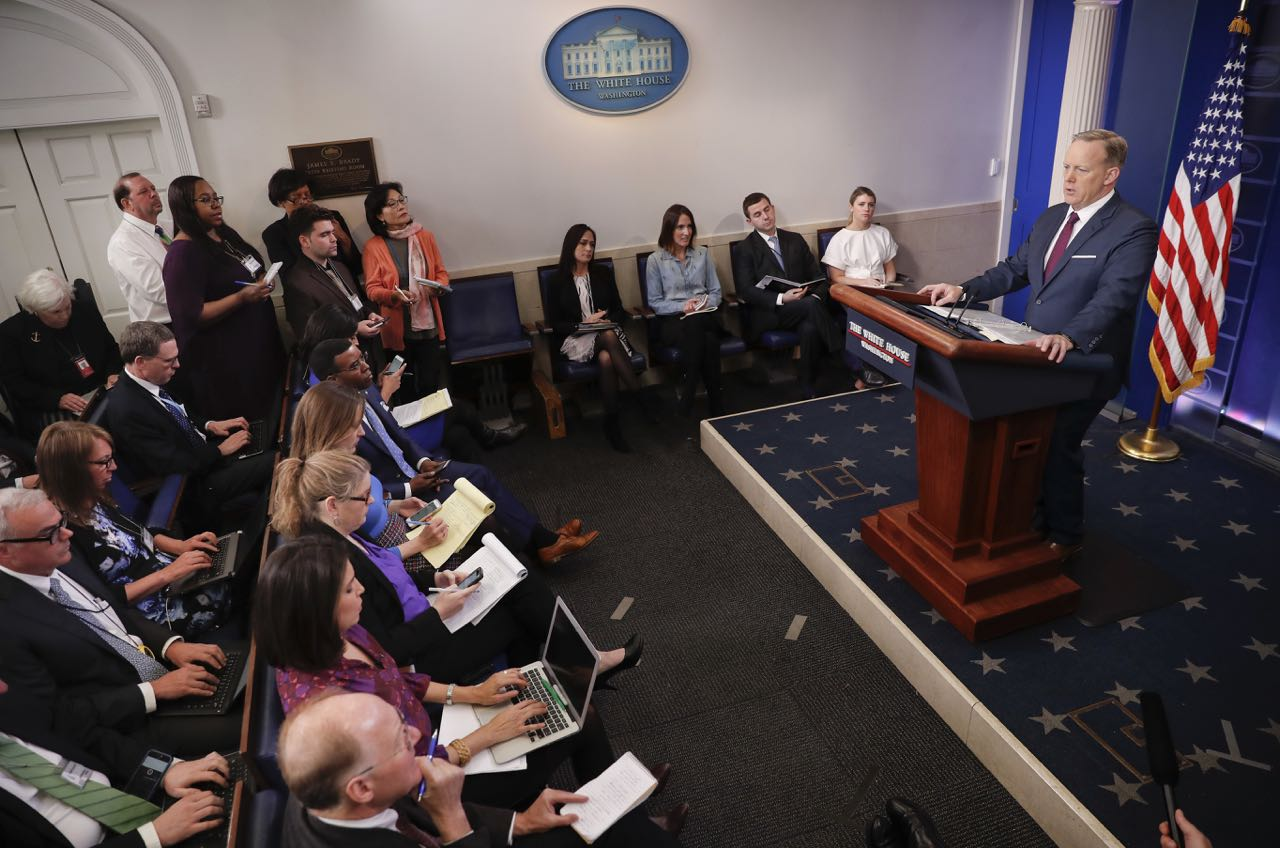 White House Press secretary Sean Spicer speaks to the media during the daily briefing in the Brady Press Briefing Room of the White House, Friday, March 24, 2017. (AP Photo/Pablo Martinez Monsivais)