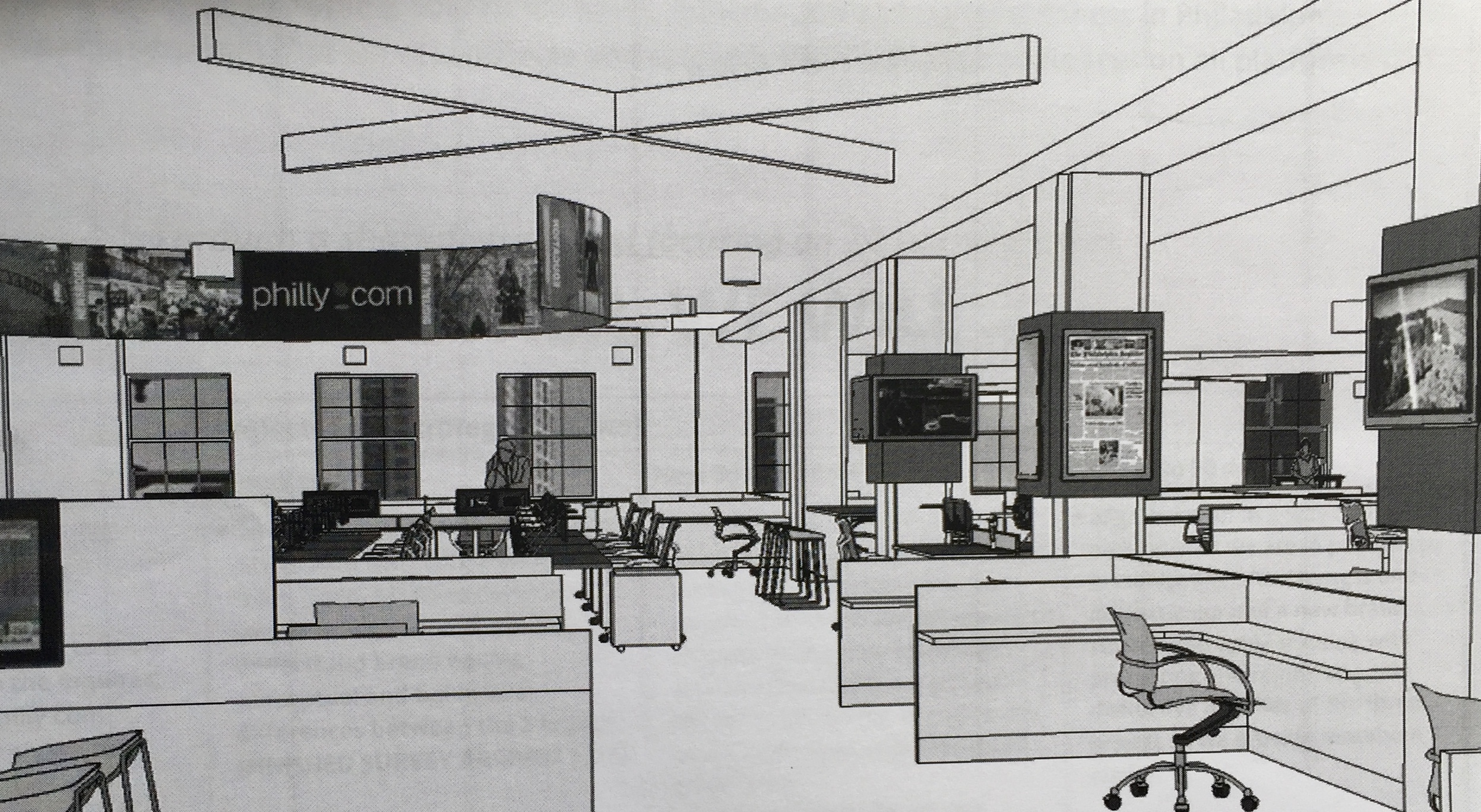 A rendering of the newsroom's new design. (Courtesy PMN)