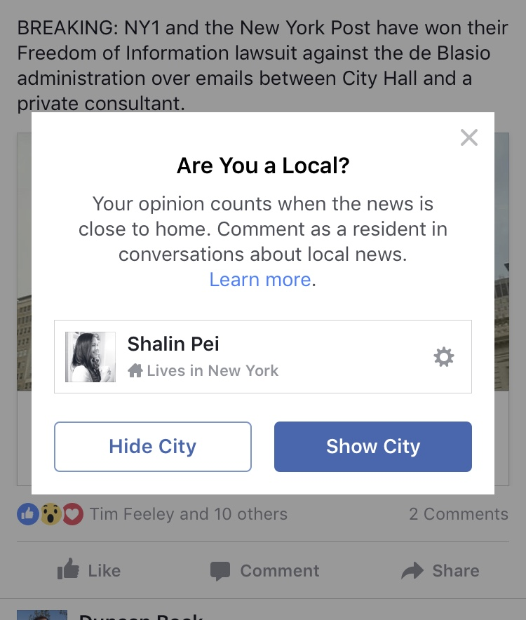 Facebook is testing products to connect its users to local news