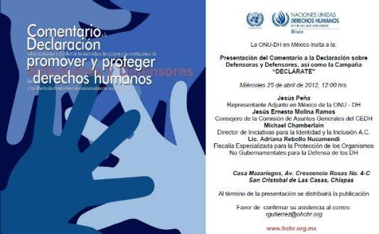 """Invitación Presentación del Comentario a la Declaración de Defensores de Derechos Humanos y de la Campaña """"Declárate"""""""