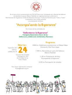 """Presentación del libro: """"Acompañando la Esperanza"""". 20 experiencias en defensa y promoción de los derechos humanos."""
