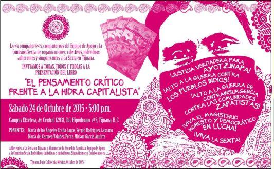 """Anuncian """"más semilleros"""", libro zapatista se presentará ahora en Ensenada, Mexicali, Tijuana, San Diego, Cd Juárez, El Paso y DF."""