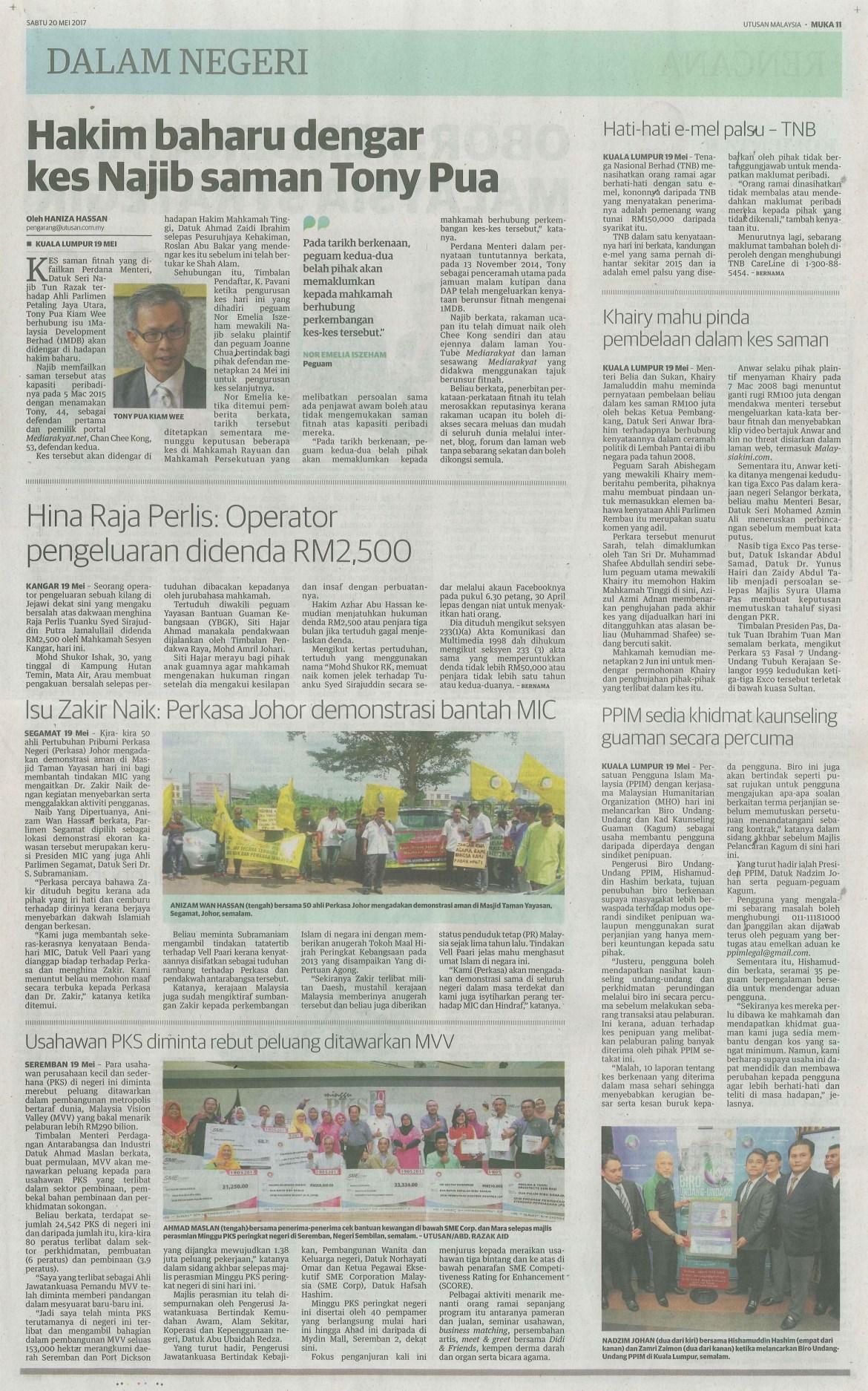 utusan malaysia 20.5.2017