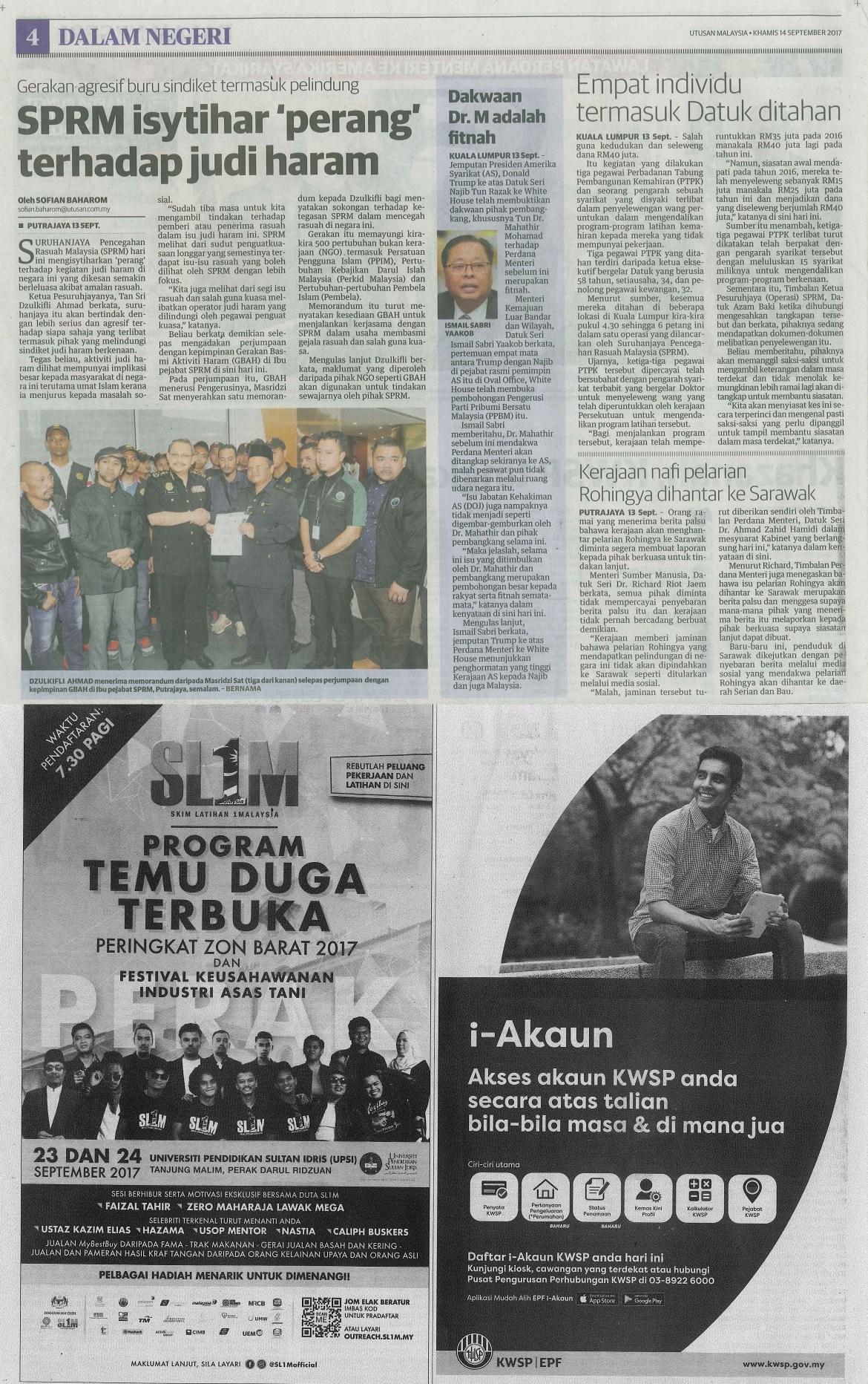 utusan malaysia 14.9.2017