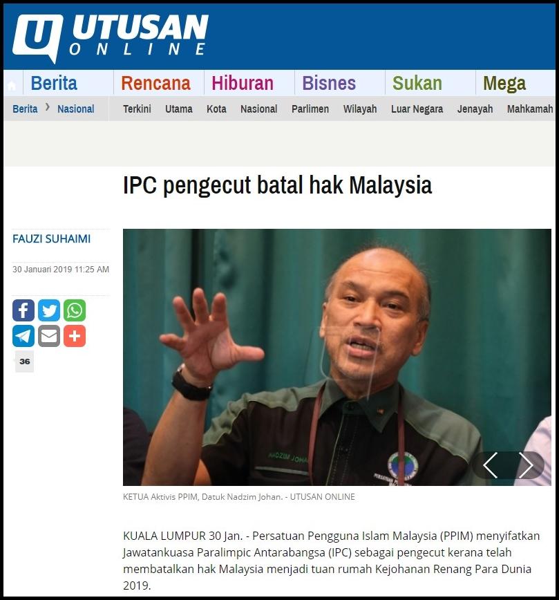Utusan ( IPC pengecut batal hak Malaysia ) 30.1.19