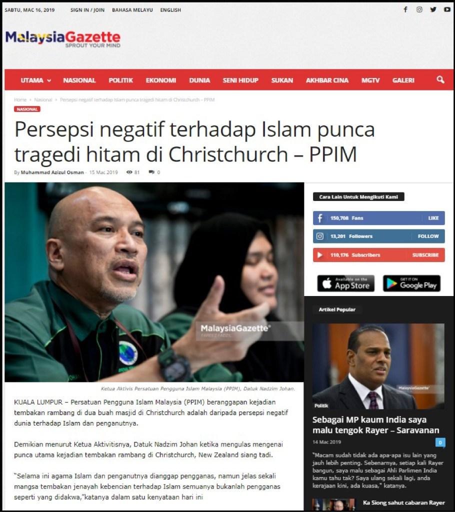 Malaysia Gazette ( persepsi negatif terhadap islam punca tragedi hitam ) 15.3.19-01