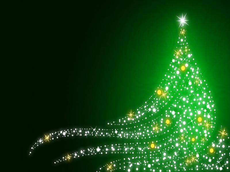 Green Tree Christmas Picture Backgrounds for Powerpoint Templates