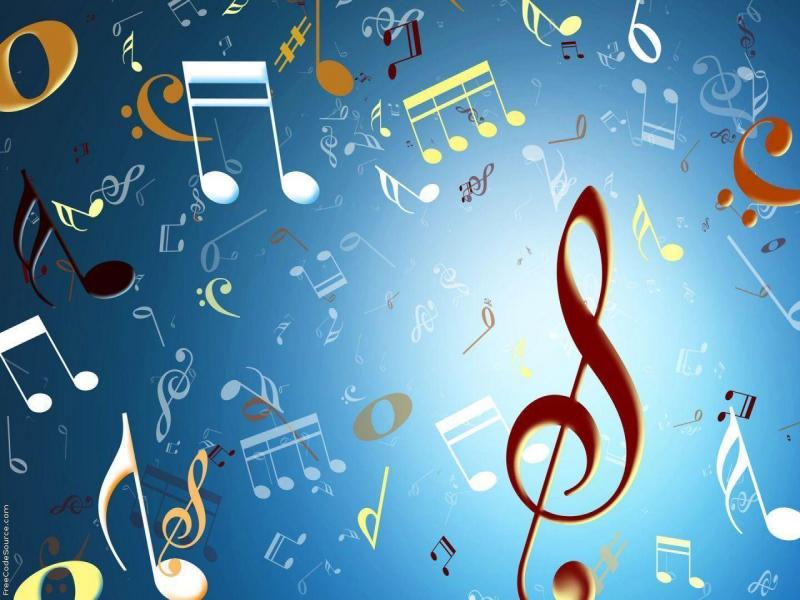 Music Notes Colorful Picture Backgrounds for Powerpoint Templates