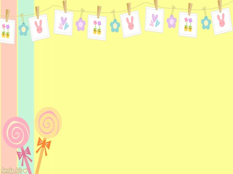 Yellow Cute Clip Art Backgrounds for Powerpoint Templates - PPT