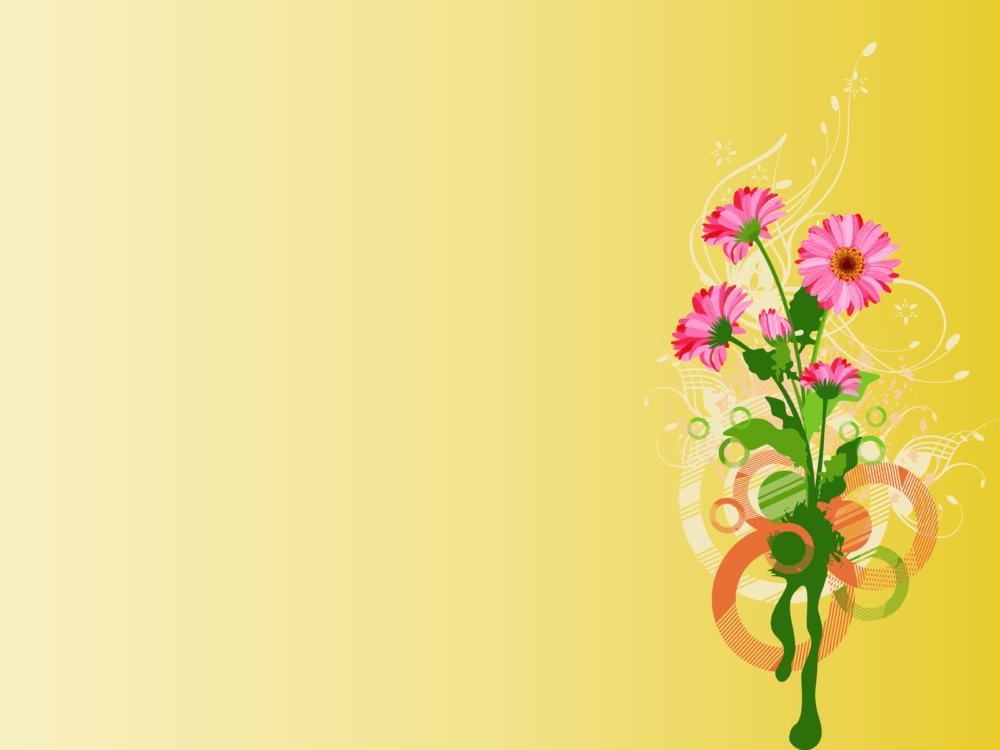 Simple Wallpapers Colors Fall Pink Flowers On Yellow Backgrounds Flowers Green