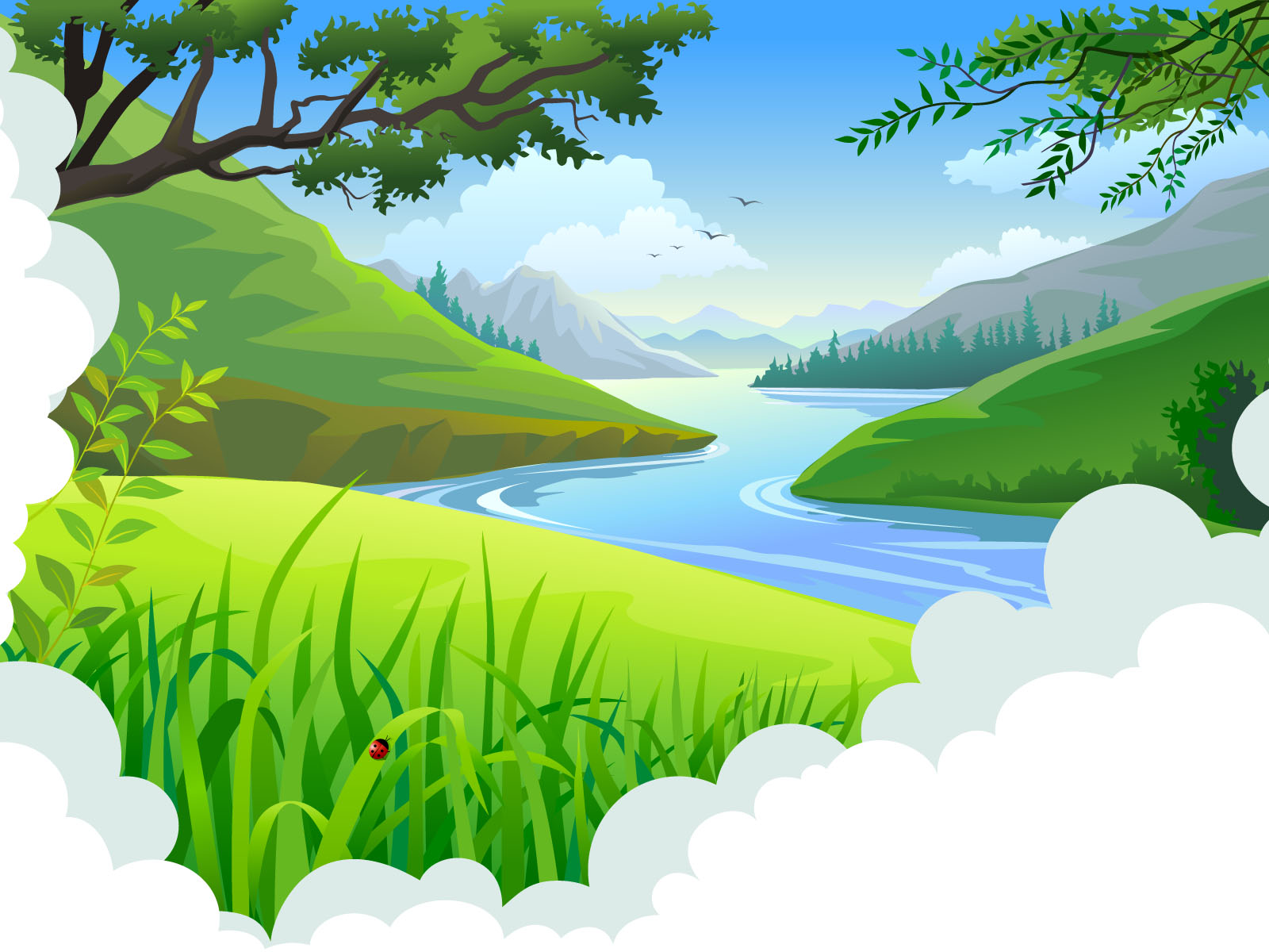 Cute Heart Wallpapers Download Cartoon Tropical Landscape Backgrounds Blue Design
