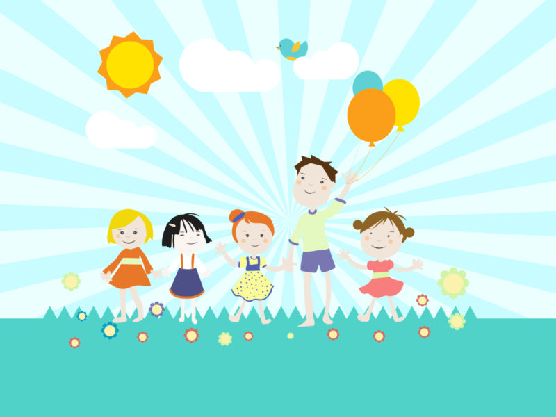 Childrens Playground Backgrounds - Cartoon, Games, Green Templates - theme powerpoint for kids