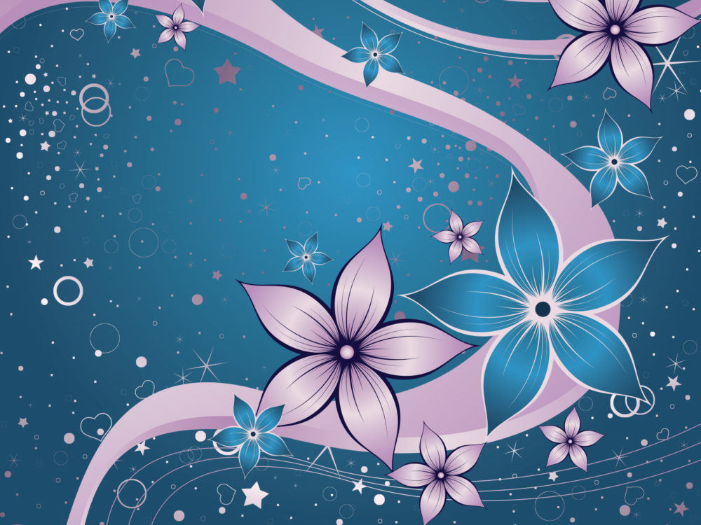 Dream Flowers Backgrounds - Blue, Flowers, Navy, Pink Templates - blue flower backgrounds