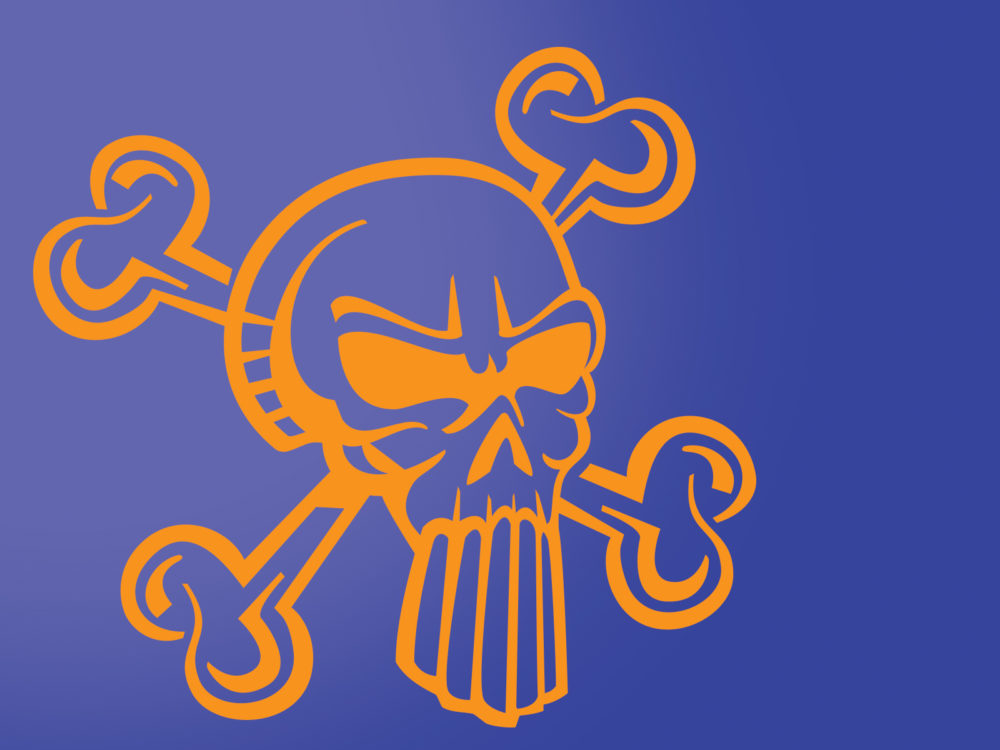 Cool Skull Cartoon Backgrounds - Blue, Cartoon, Orange Templates - cool blue backgrounds for powerpoint