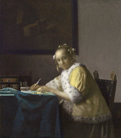 Johannes Vermeer (Dutch, 1632 - 1675 ), A Lady Writing, c. 1665, oil on canvas, Gift of Harry Waldron Havemeyer and Horace Havemeyer, Jr., in memory of their father, Horace Havemeyer